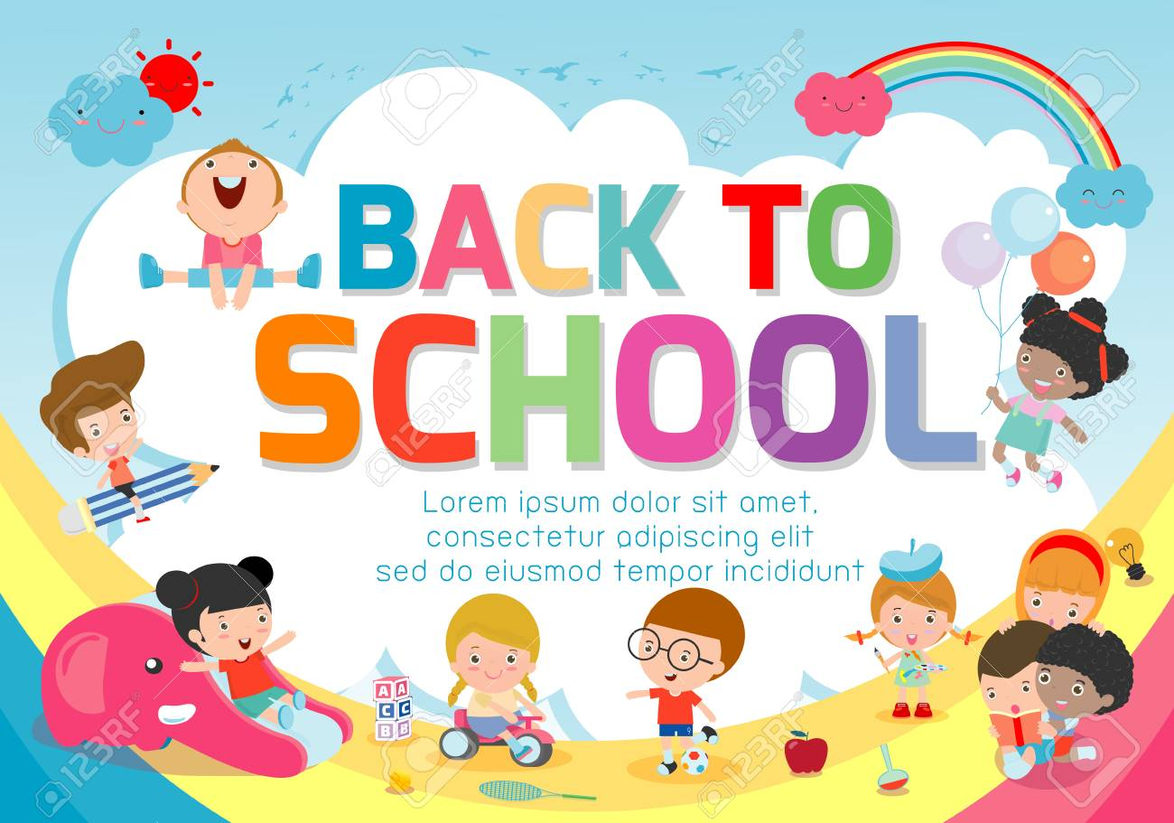 Back To School Banner Background Welcome Back To School Cute Royalty Free Cliparts Vectors And Stock Illustration Image 115670942