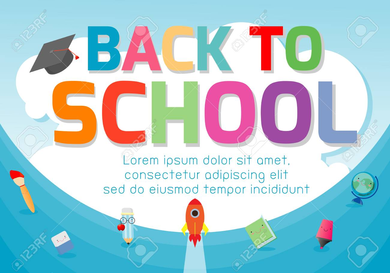 Back To School Banner Background Welcome Back To School Cute Royalty Free Cliparts Vectors And Stock Illustration Image 115671288