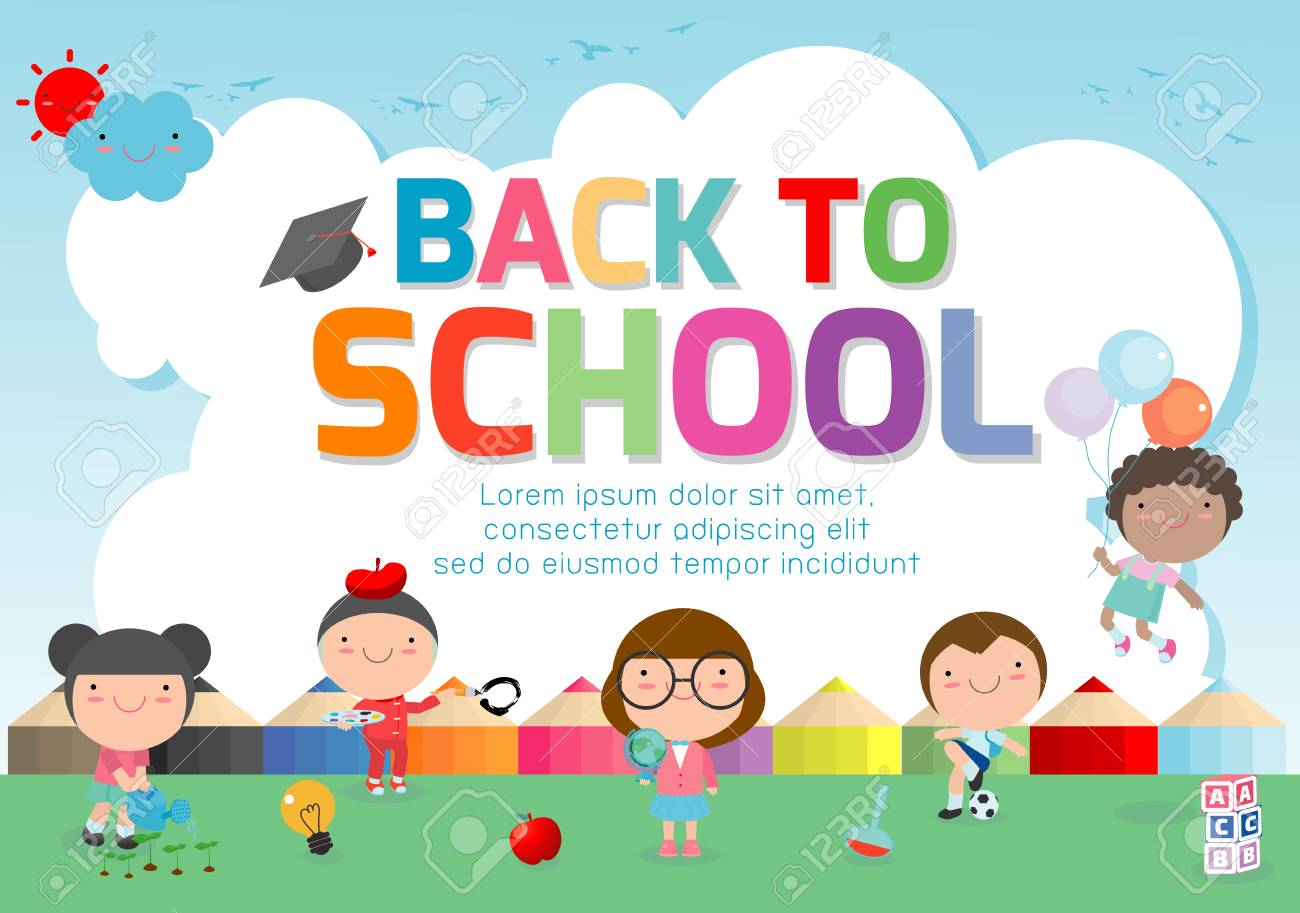Back To School Banner Background Welcome Back To School Cute Royalty Free Cliparts Vectors And Stock Illustration Image 115671290