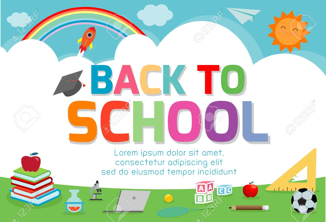 Back To School Banner Background Welcome Back To School Cute Royalty Free Cliparts Vectors And Stock Illustration Image 115671296