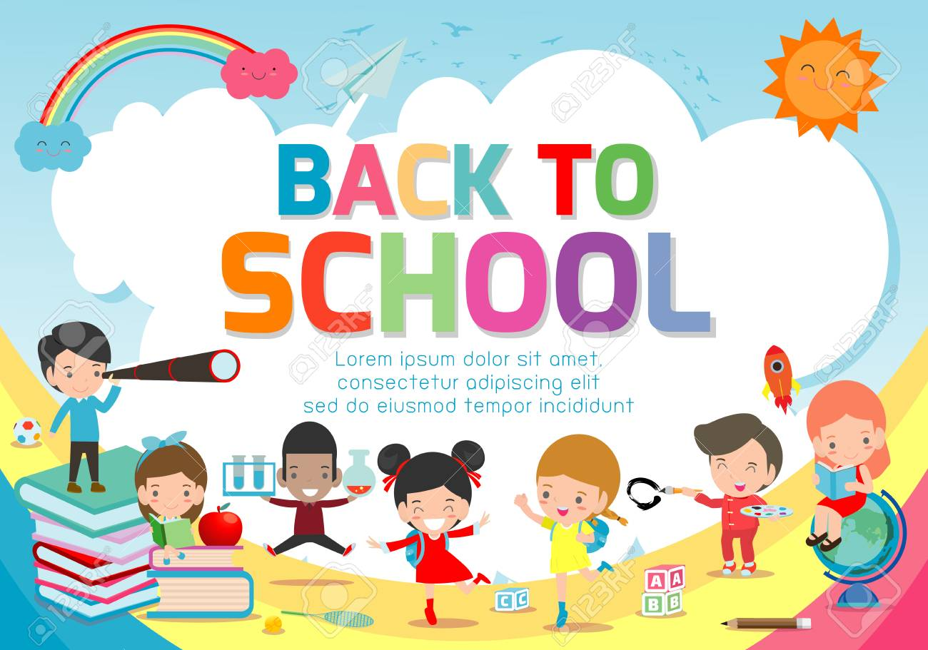 Back To School Banner Background Welcome Back To School Cute Royalty Free Cliparts Vectors And Stock Illustration Image 115671297