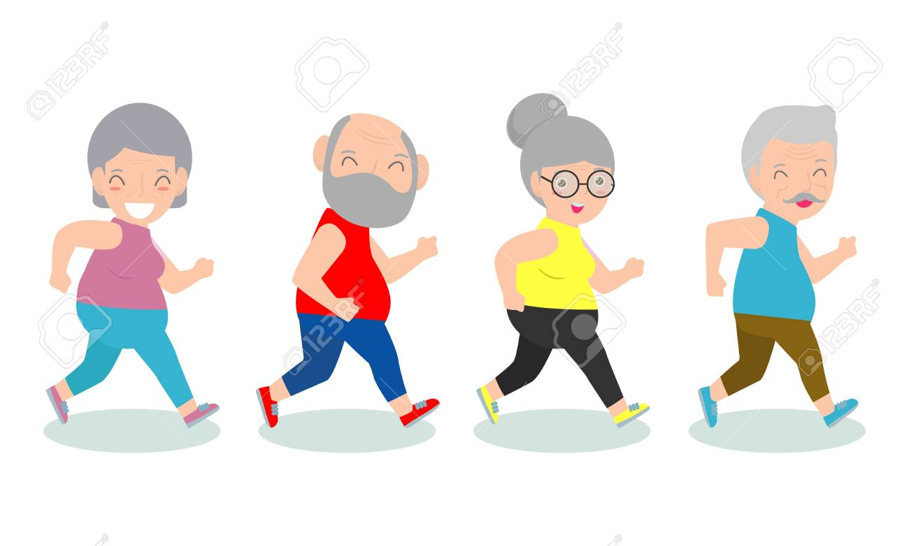 Vector Illustration Of Cartoon Running Old Woman Man Cartoon Royalty Free Cliparts Vectors And Stock Illustration Image 116271692