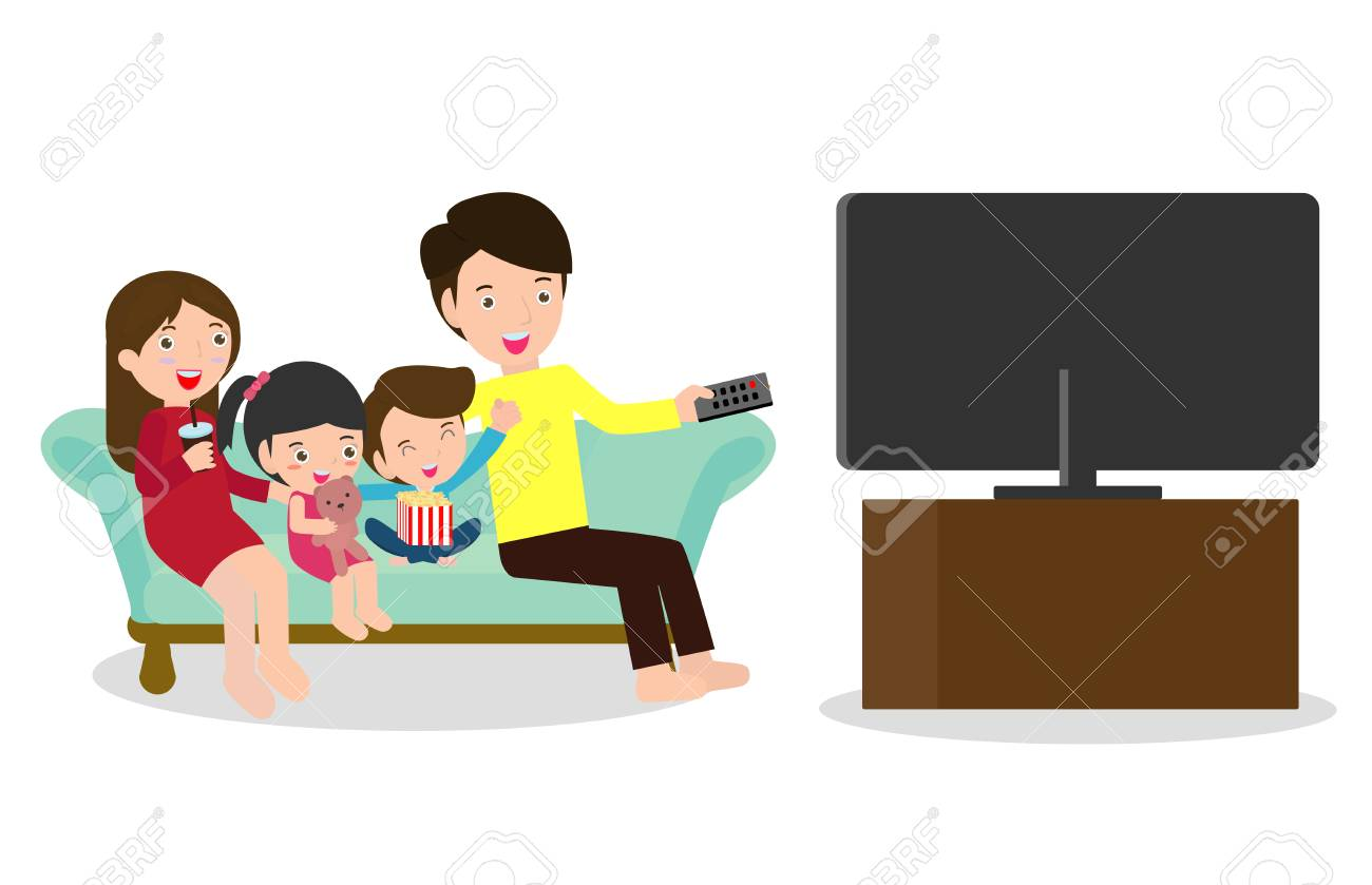 Illustration of a Family Watching a TV Show Together, Happy family watching television sitting on the couch at home - 116271860