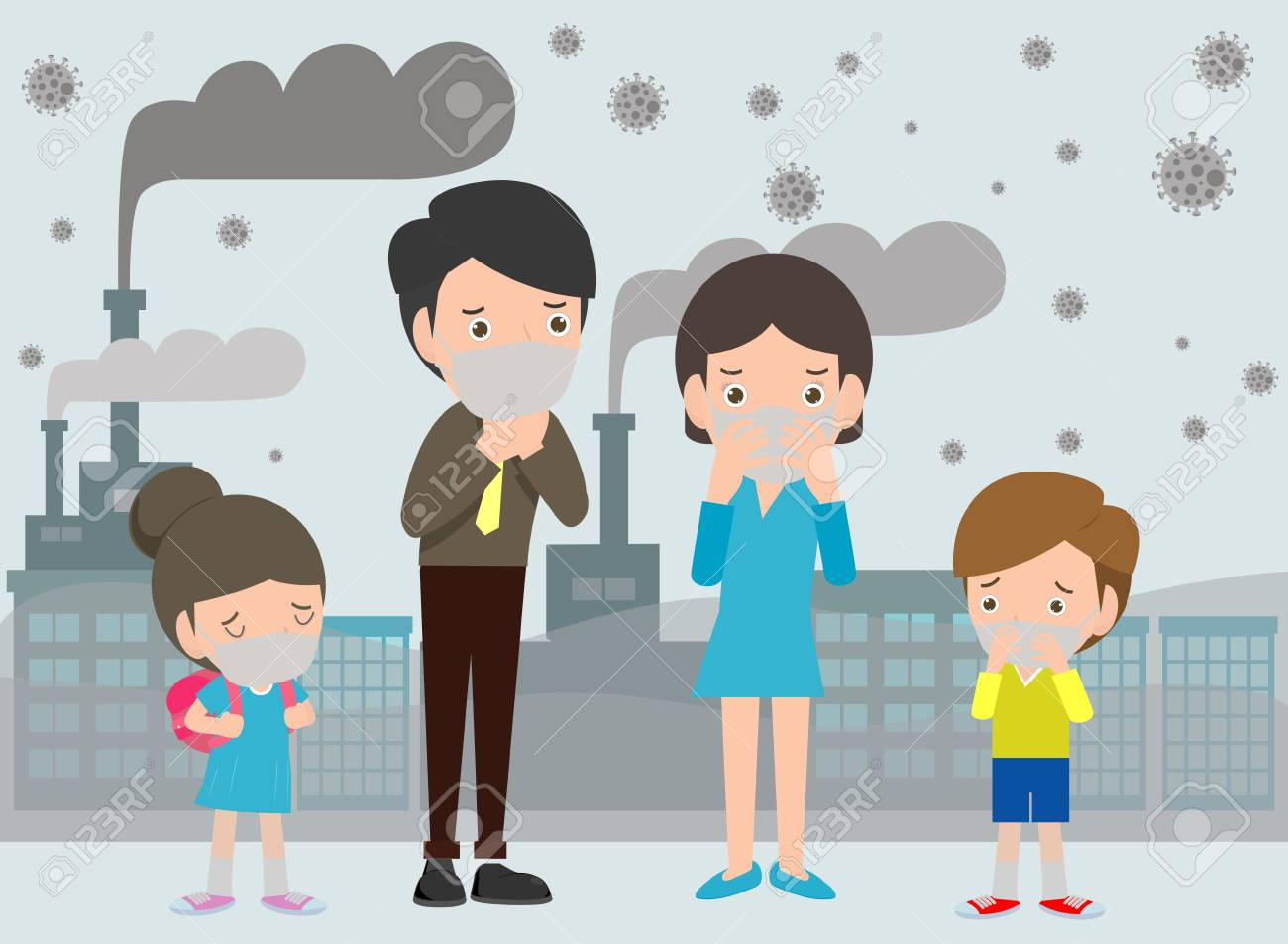 People in masks because of fine dust PM 2.5, man and woman and child,wearing mask against smog. Fine dust, air pollution, industrial smog protection concept flat style design vector illustration. - 120614702