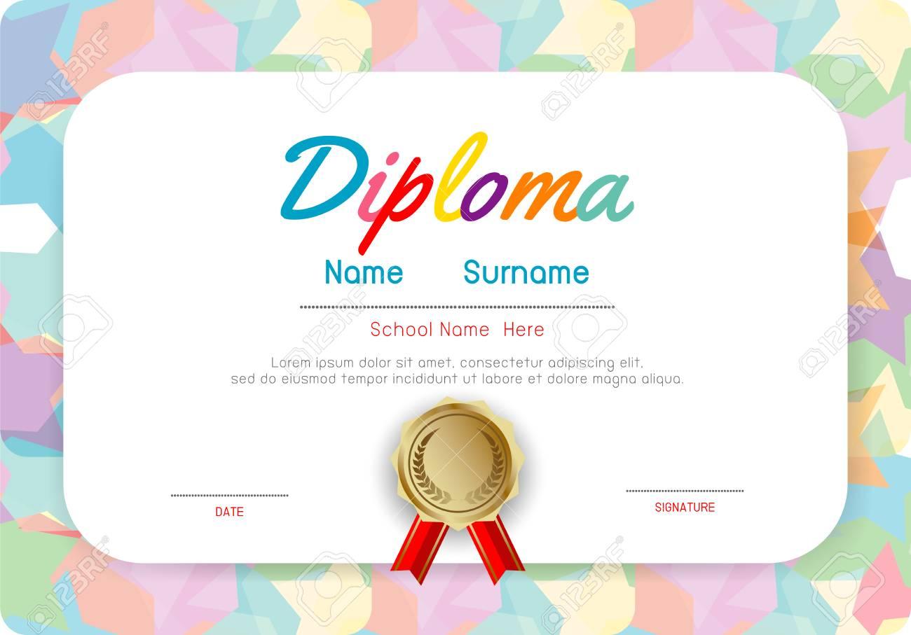 Certificates kindergarten and elementary, Preschool Kids Diploma certificate pattern design template, Diploma template for kindergarten students, Certificate of kids diploma - 121188602