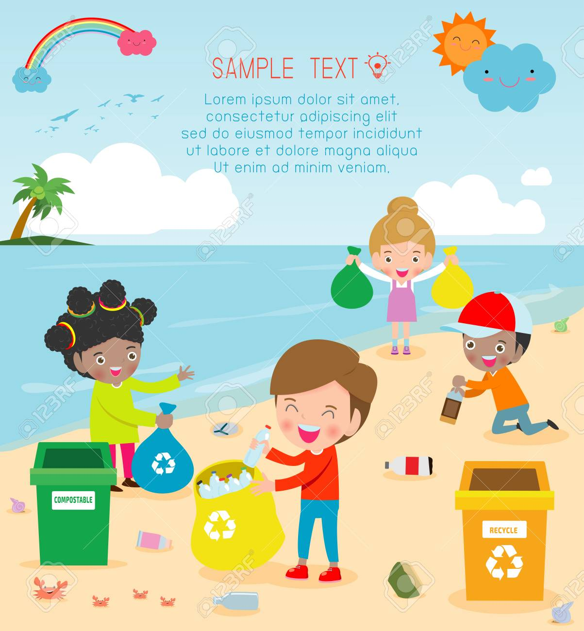 Group of Volunteer Children Cleaning Beach,Template for advertising brochure,your text, Save the World, poster background Illustrator Vector - 121188701
