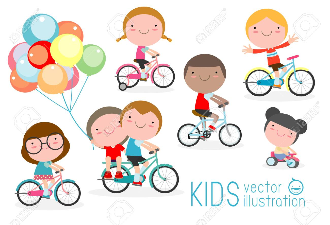 Happy kids on bicycles, Child riding bike,Kids riding bikes, Child riding bike, kids on bicycle vector on white background,Illustration of a group of kids biking on a white background. - 122421148