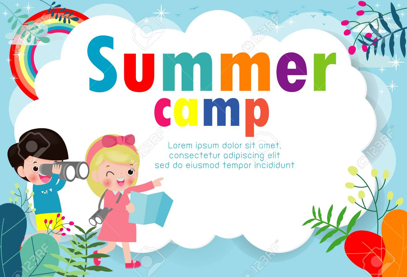 kids summer camp education Template for advertising brochure, children doing activities on camping , poster flyer template, your text ,Vector Illustration - 125028441