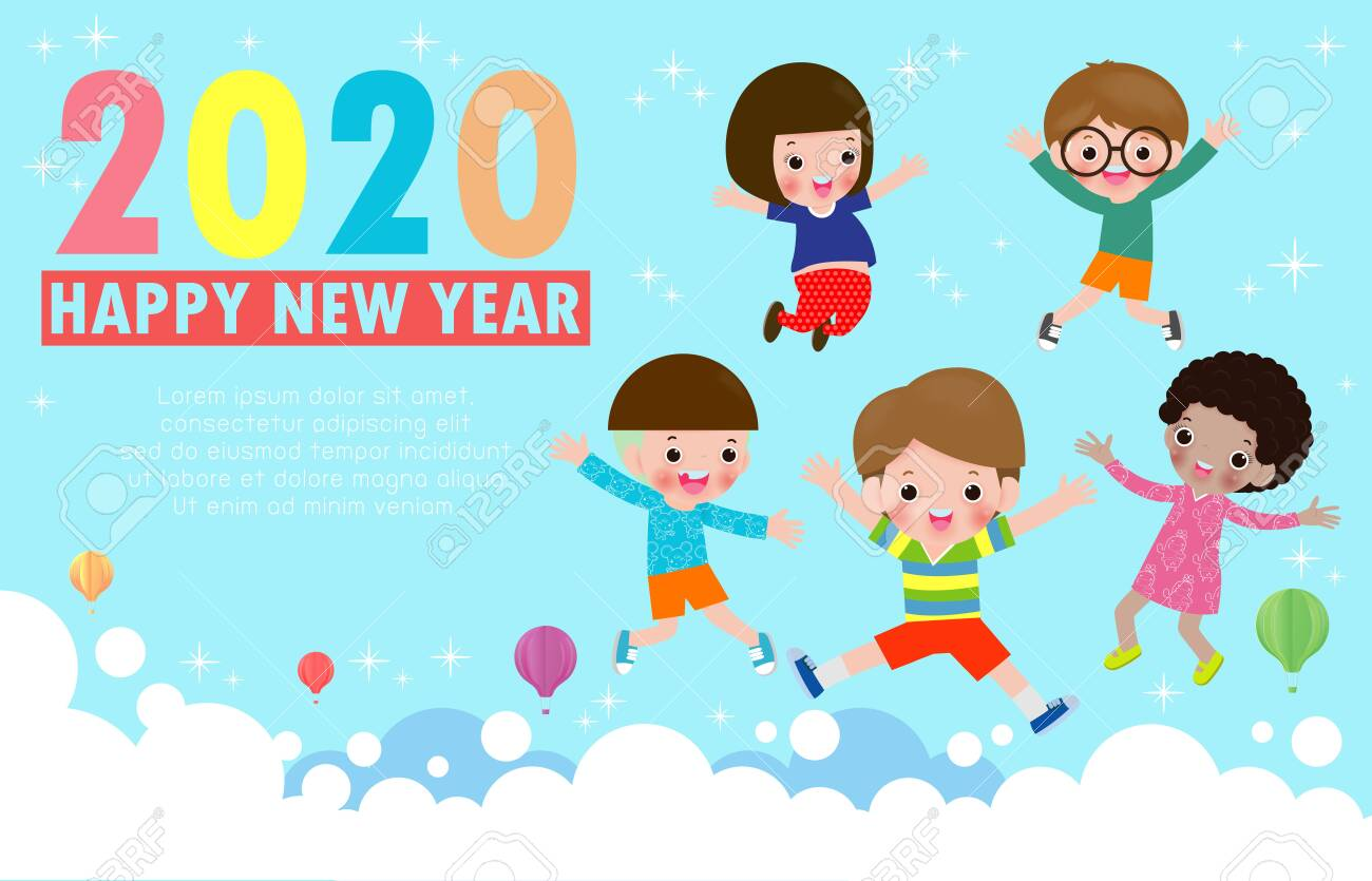 Happy New Year 2020 Greeting Card With Group Kids Jumping Happy
