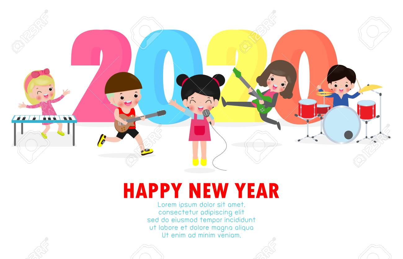 Christmas Musicals For Children, 2020 Happy New Year 2020 Greeting Card With Cute Children Play Musical