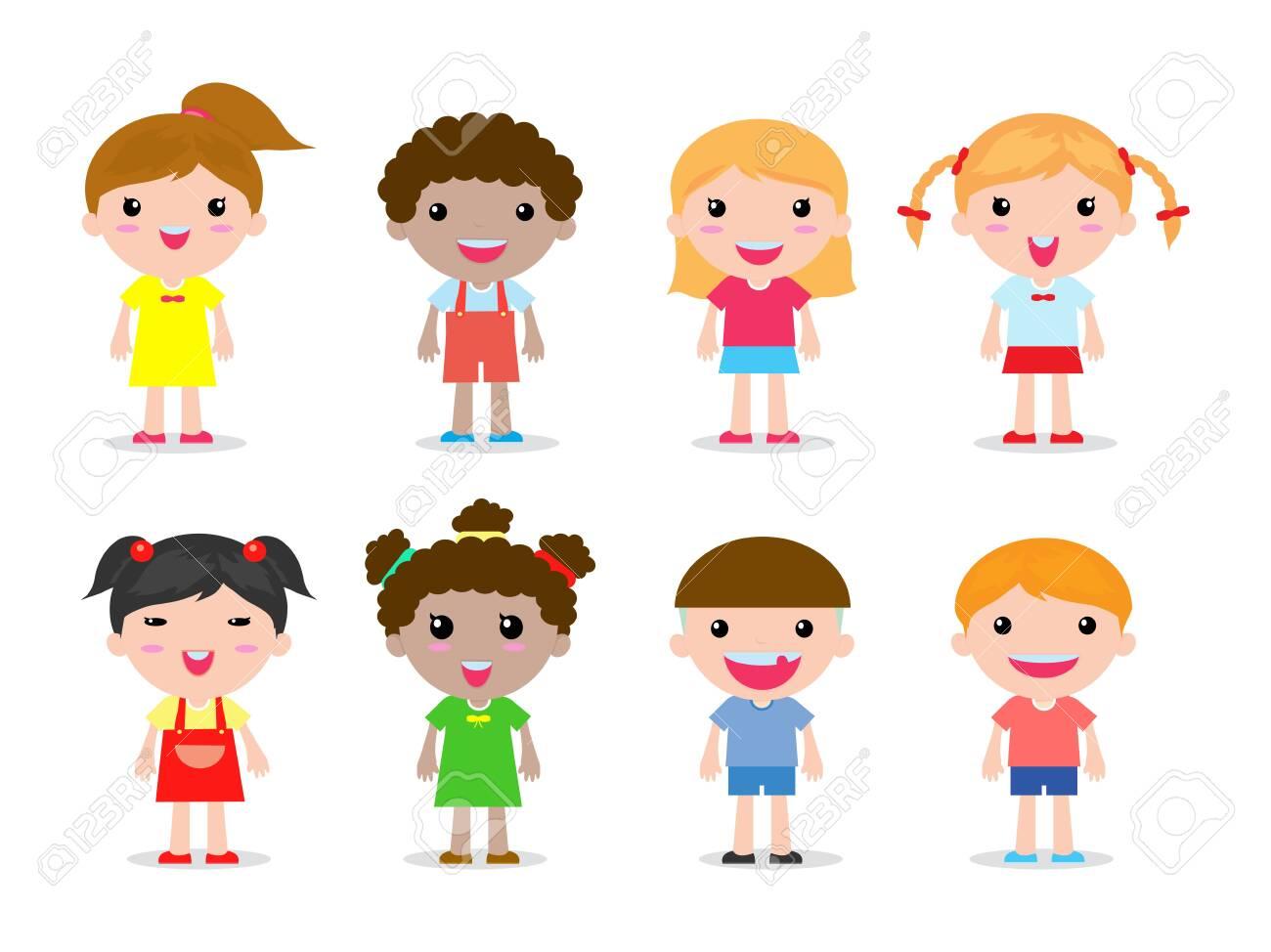 set of kids character on white background vector illustration - 139930191
