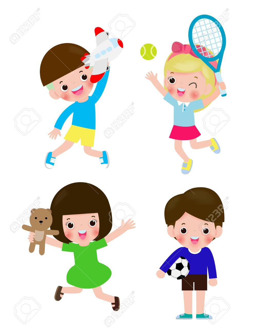 set of children with toys isolated on Background vector illustration - 142107971