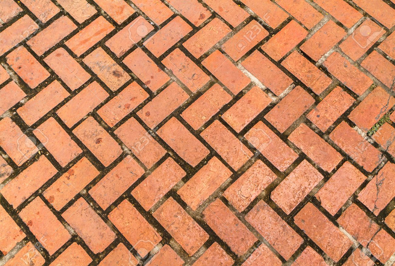 Texture Of Old Red Brick Floor Background Stock Photo Picture And