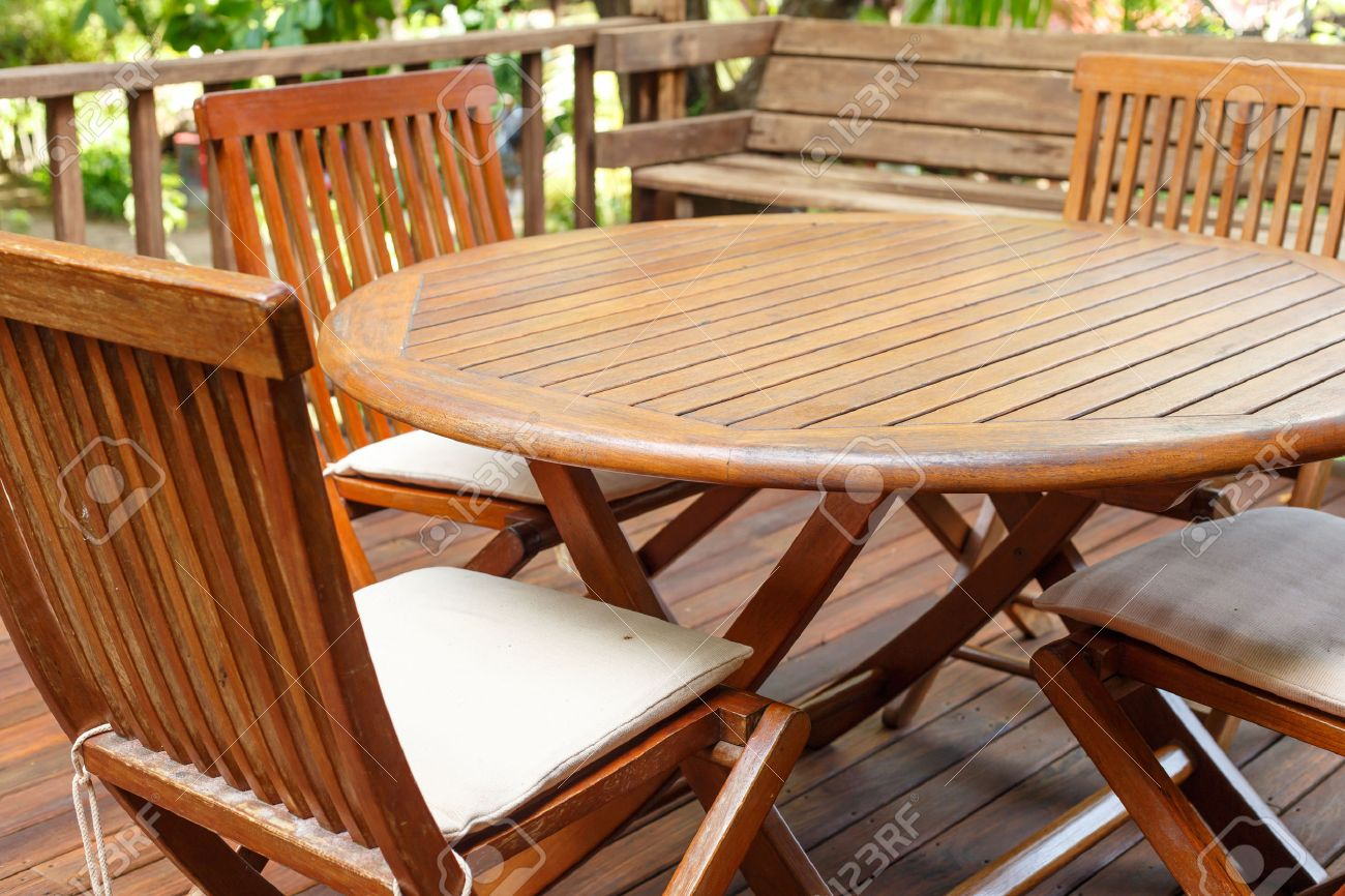 Stock Photo   Teak Wood Furniture Stand On The Terrace