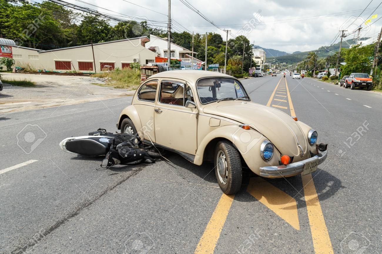 PHUKET, THAILAND - DECEMBER 17 : Car accident on the road and