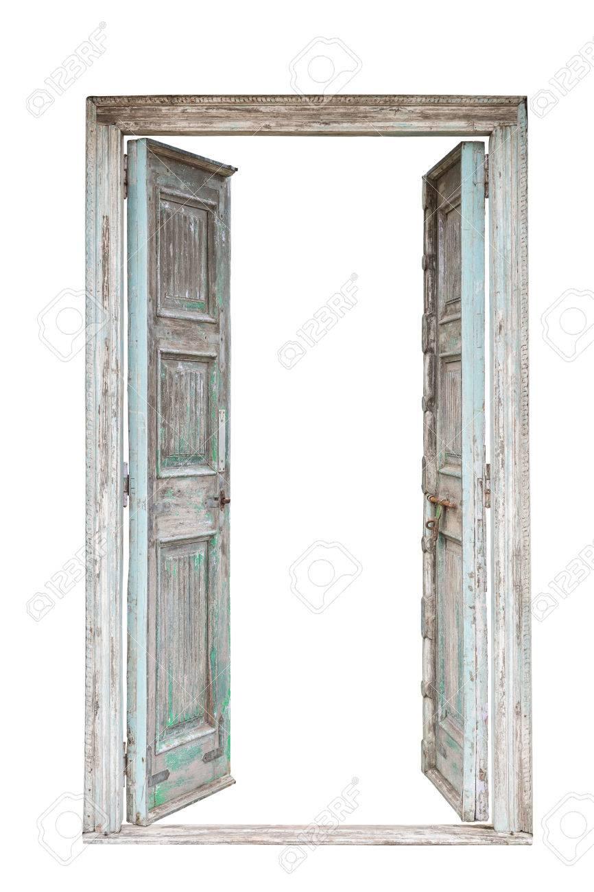 Immagini Stock Porta Di Legno Retrò In Stile Retrò Isolato Su
