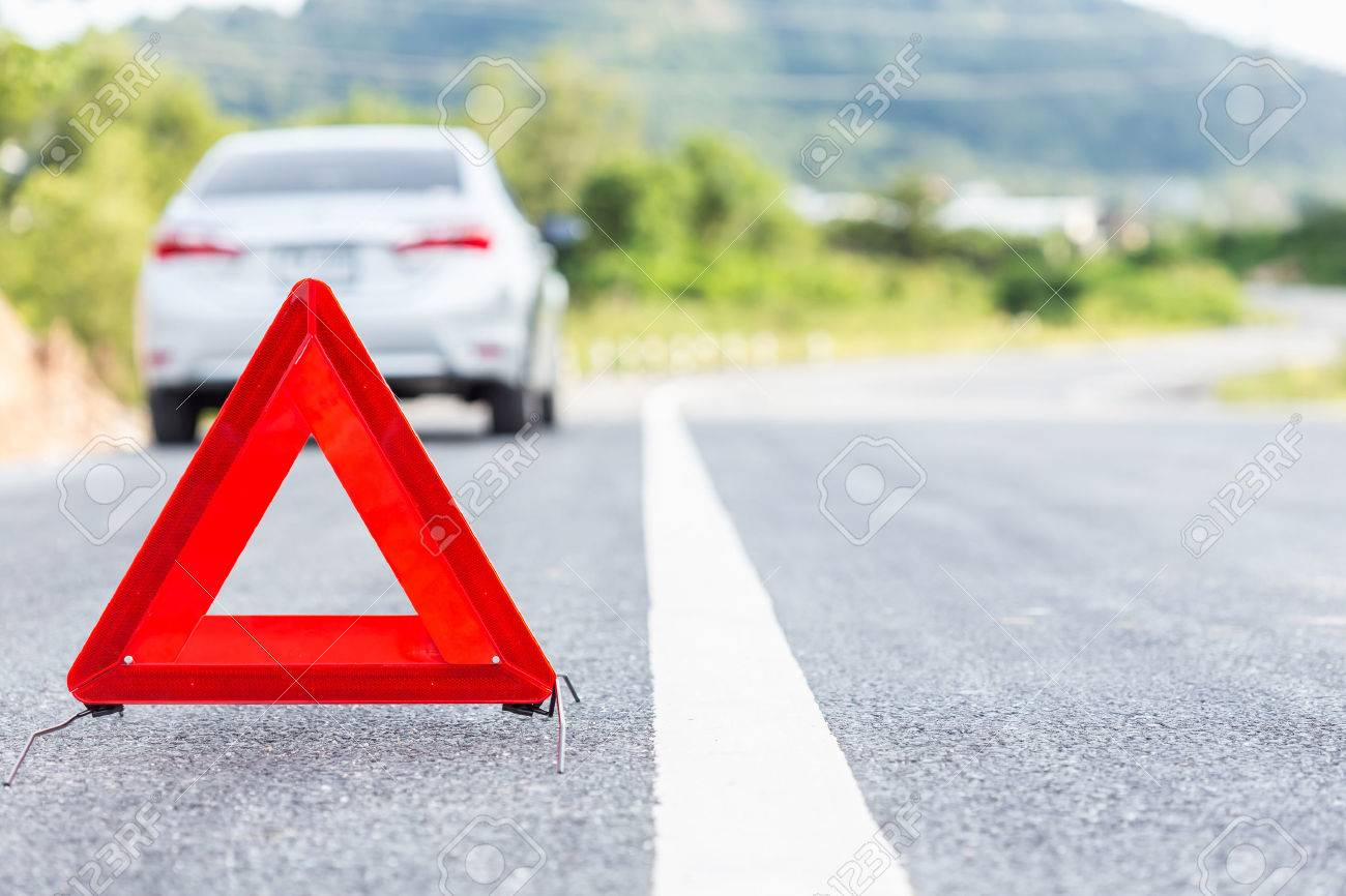 Road safety stock photos royalty free business images red emergency stop sign and broken silver car on the road stock photo buycottarizona Image collections