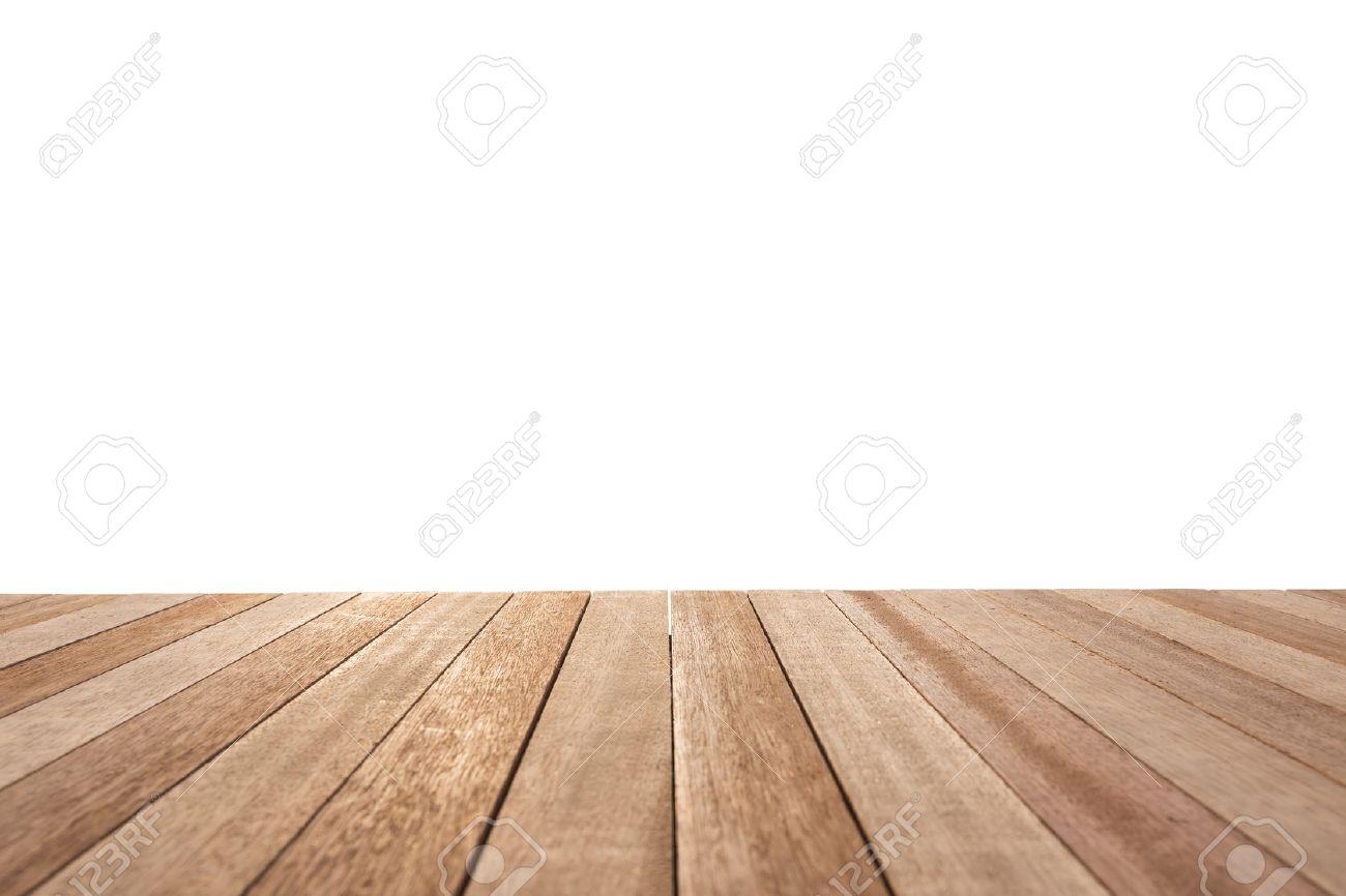 Haut Empty la table ou du comptoir en bois isolé sur fond blanc. Pour l'affichage des produits Banque d'images - 46970751