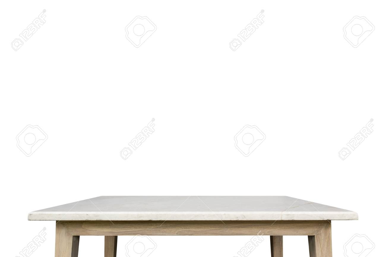 Empty Top Of White Mable Stone Table Isolated On White Background. For  Product Display Stock