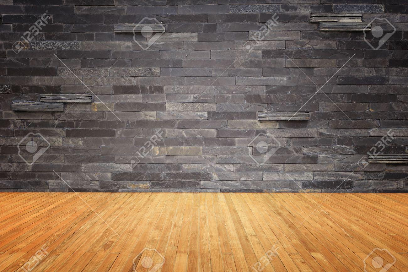 Haut Empty du plancher en bois et en pierre naturelle mur fond Banque d'images - 47639334