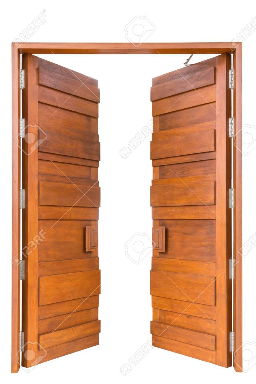 Big Teak Wooden Door In Luxury Villa Isolated On White Background Stock  Photo   48119674