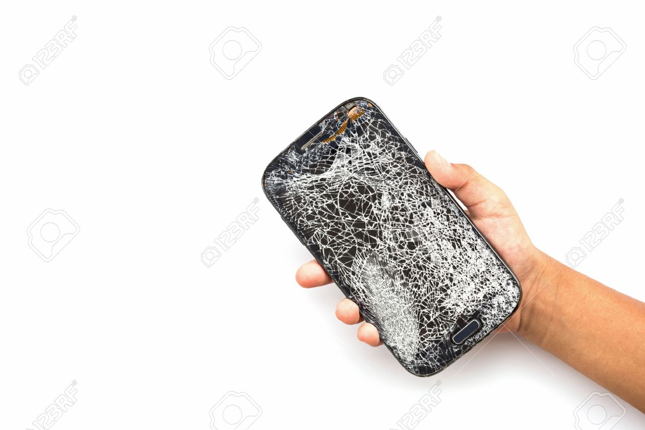 Une main tenant un téléphone intelligent cassé isolé sur fond blanc Banque d'images - 48849105