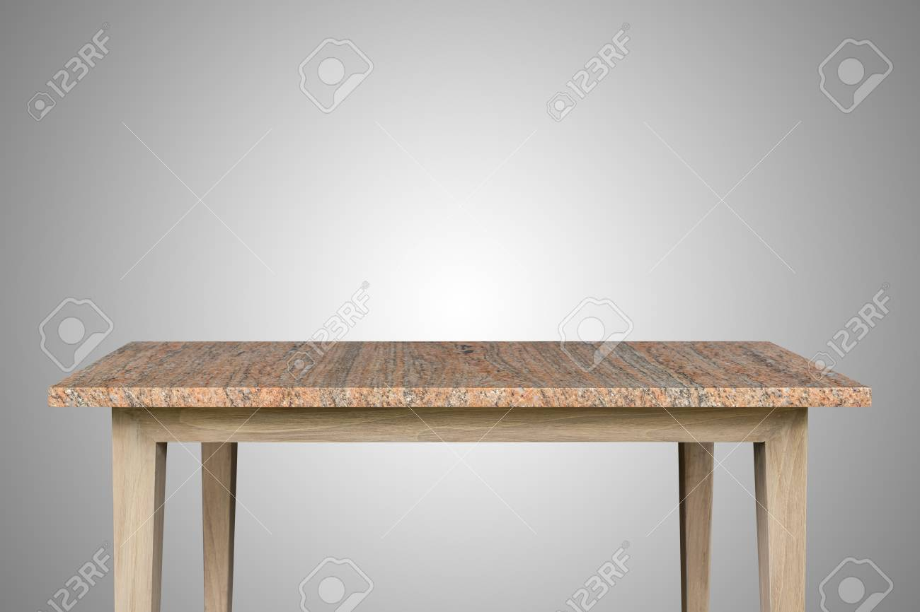 Empty Top Of Granite Stone Table Isolated On White Background. For Product  Display Stock Photo