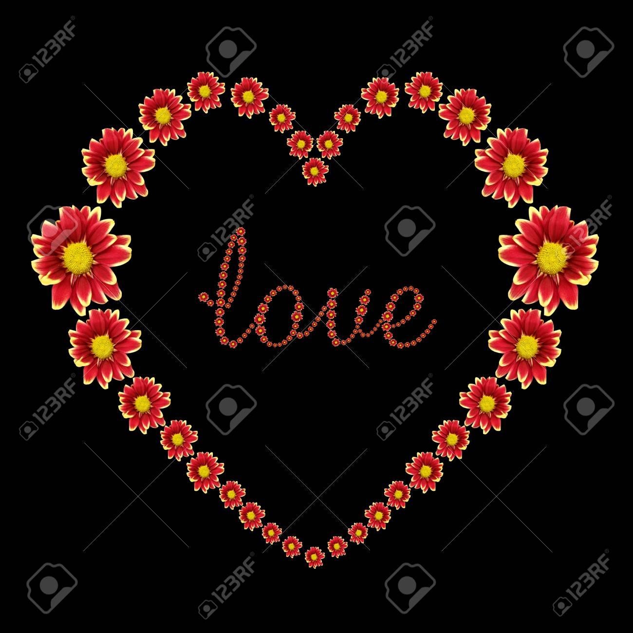Beau Coeur De Fleur Rouge Et Texte D Amour Isole Sur Fond Noir