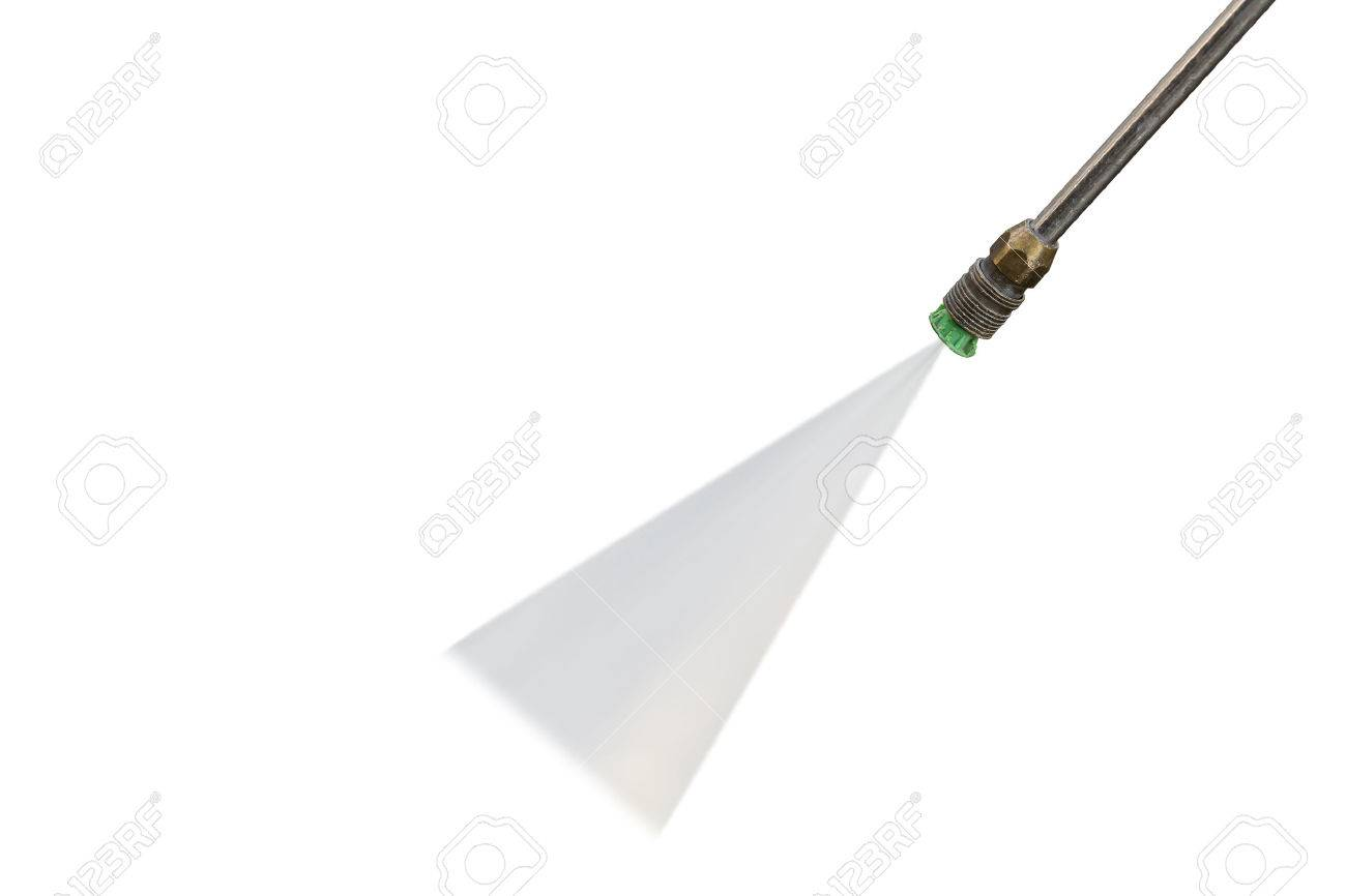 Outdoor floor cleaning with high pressure water jet isolated on white background. Saved with clipping path - 60634936