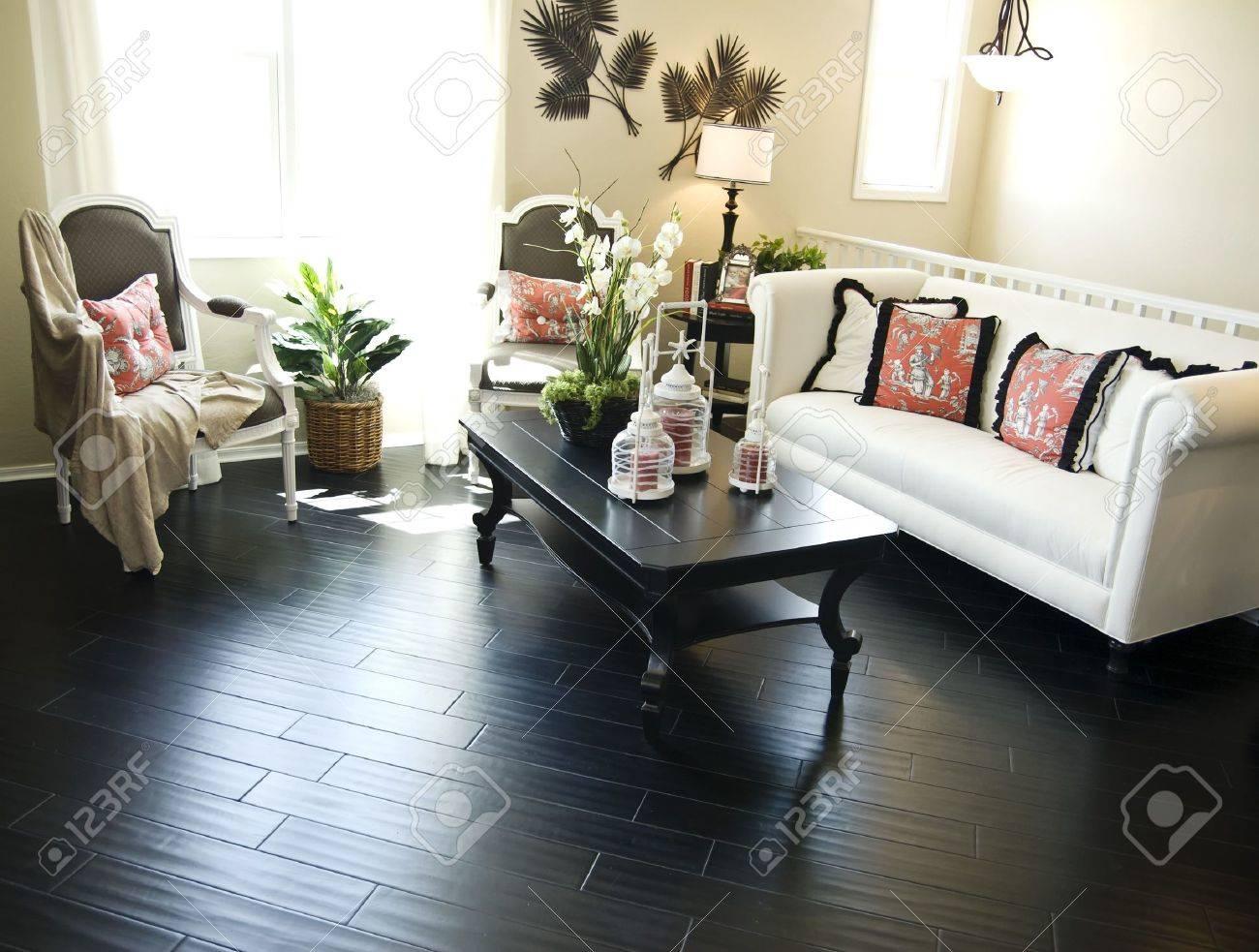Bright modern interior Design with hard wood flooring Stock Photo - 2802576