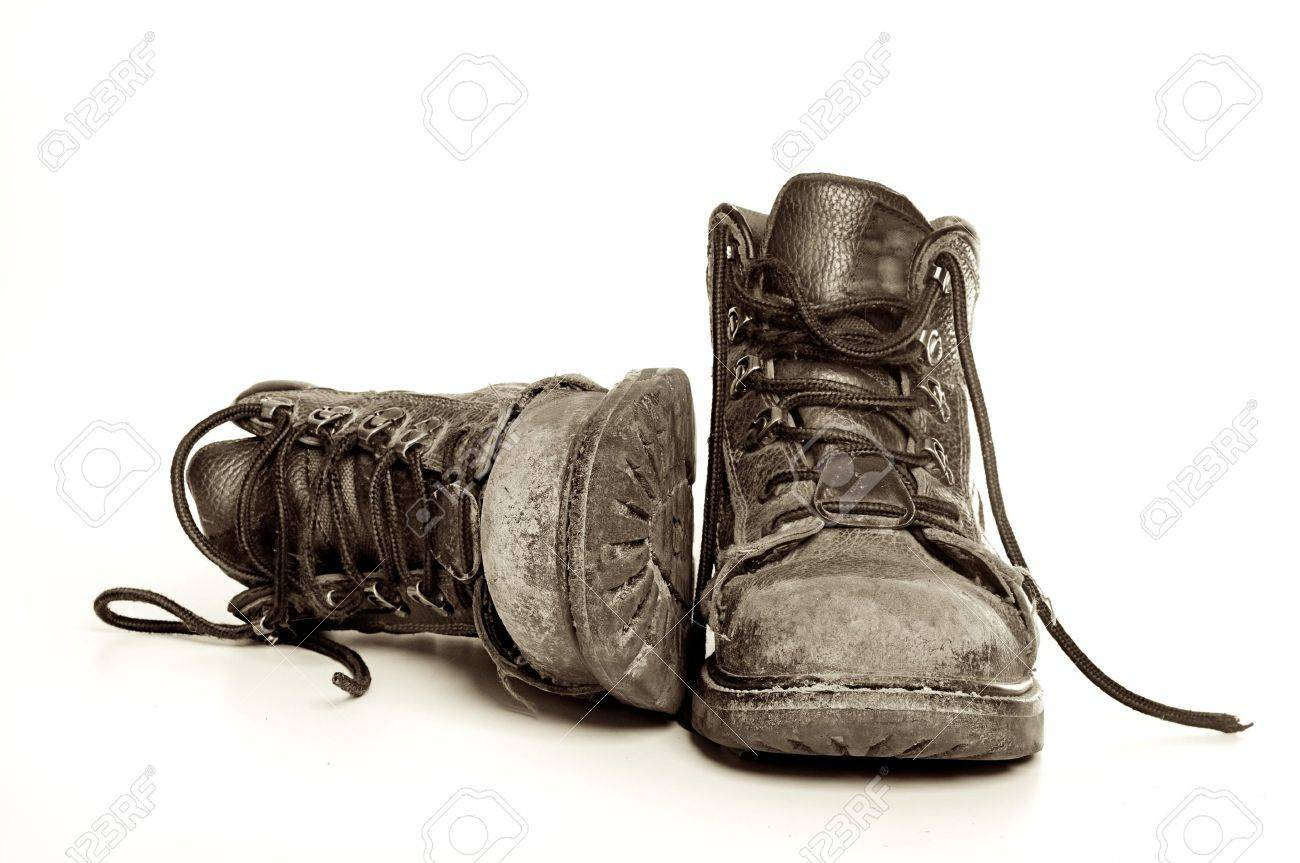 Rugged Old Mens Boots Stock Photo   9405684