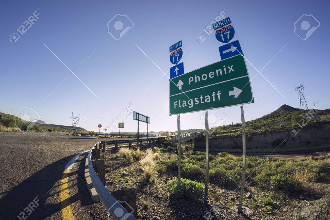 Phoenix To Flagstaff >> I17 Road Sign For Phoenix And Flagstaff Arizona Stock Photo