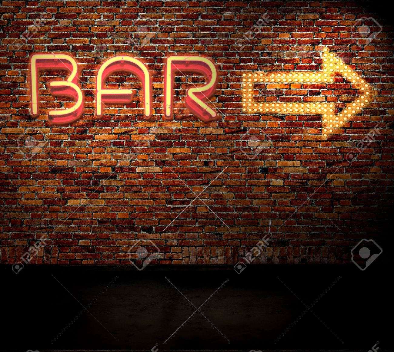Bar sign on a brick wall - 4883597