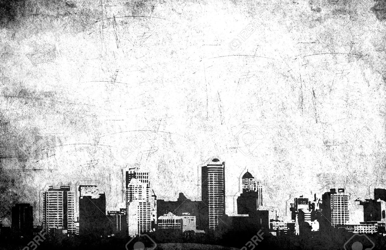 Grungy city background in black and white - 4883599