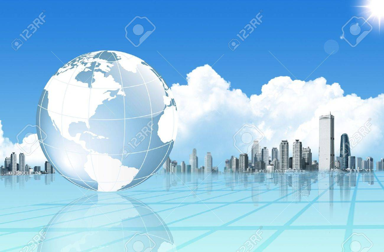 Abstract business background with globe and buildings - 5085009