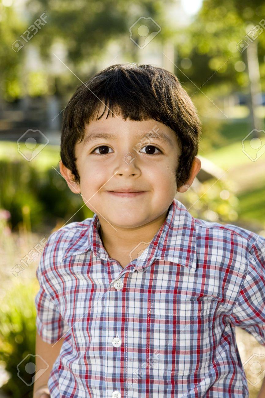 Cute little boy playing outside - 5481572