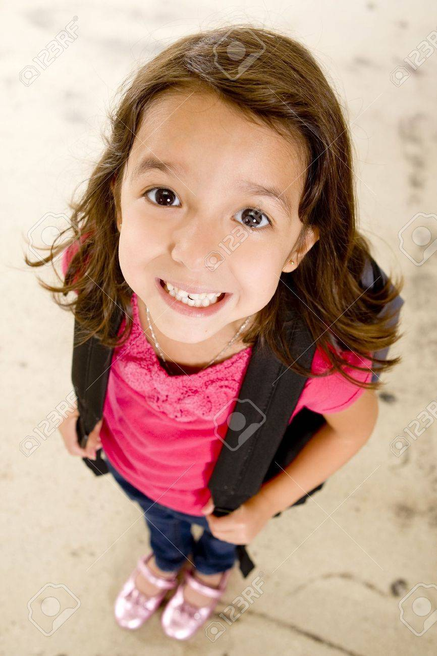 Little girl with her book bag - 5679685