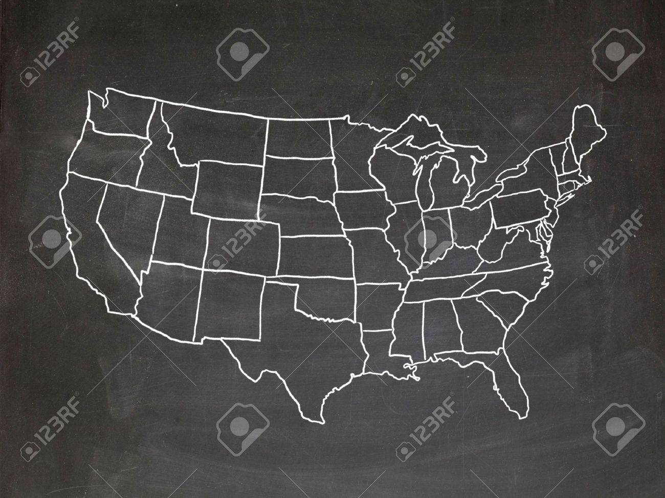 Chalkboard Map Of Us Map Of The US Drawn On A Chalkboard Stock Photo, Picture And