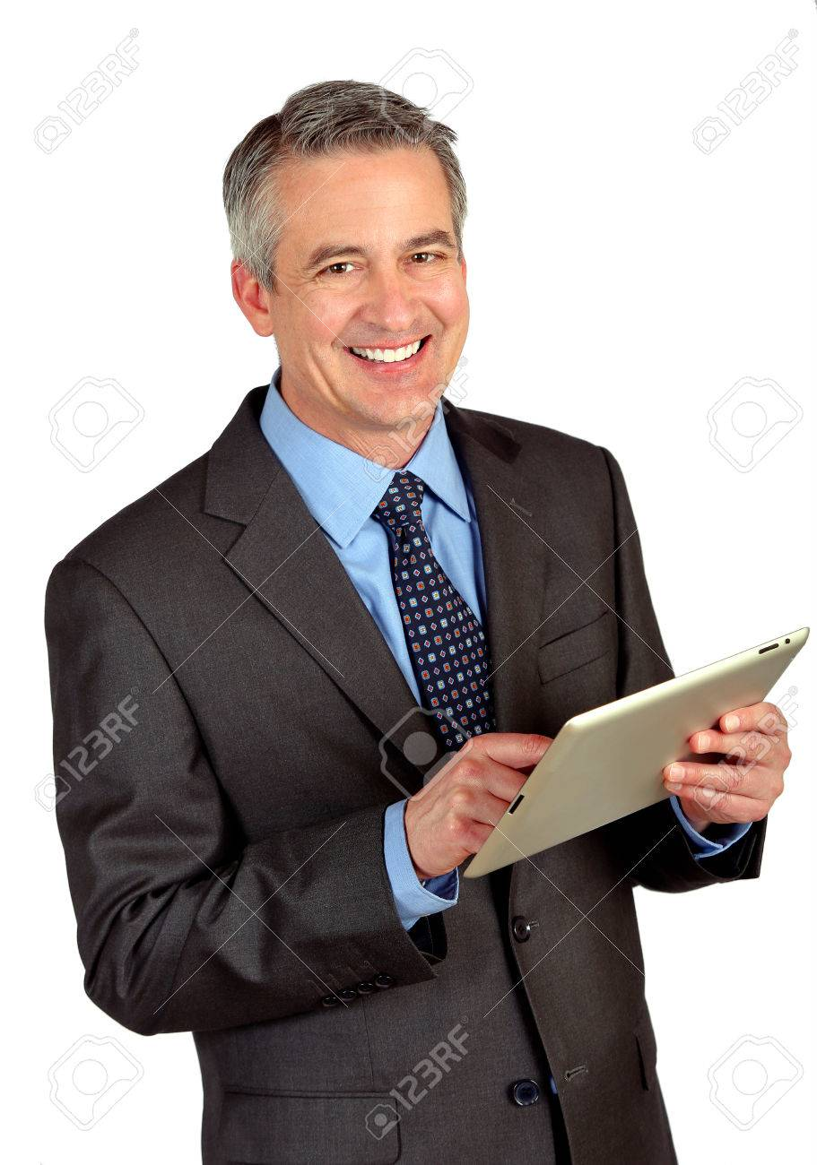 Portrait of a business man using a tablet - 26562558