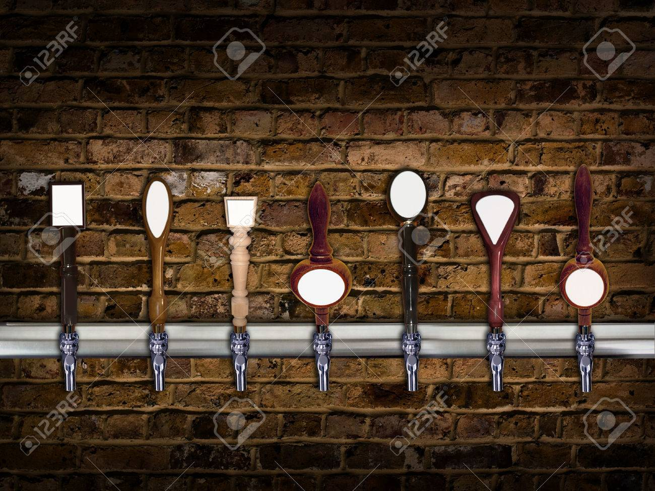 Multiple beer taps in a row with room for copy on each - 45289459