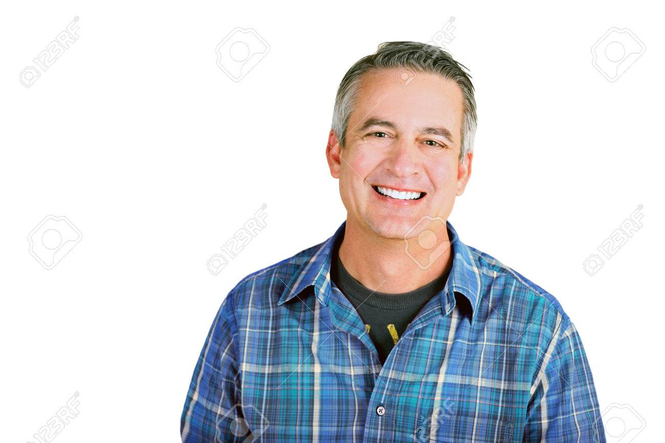 Casual mature man on a white background - 31810849