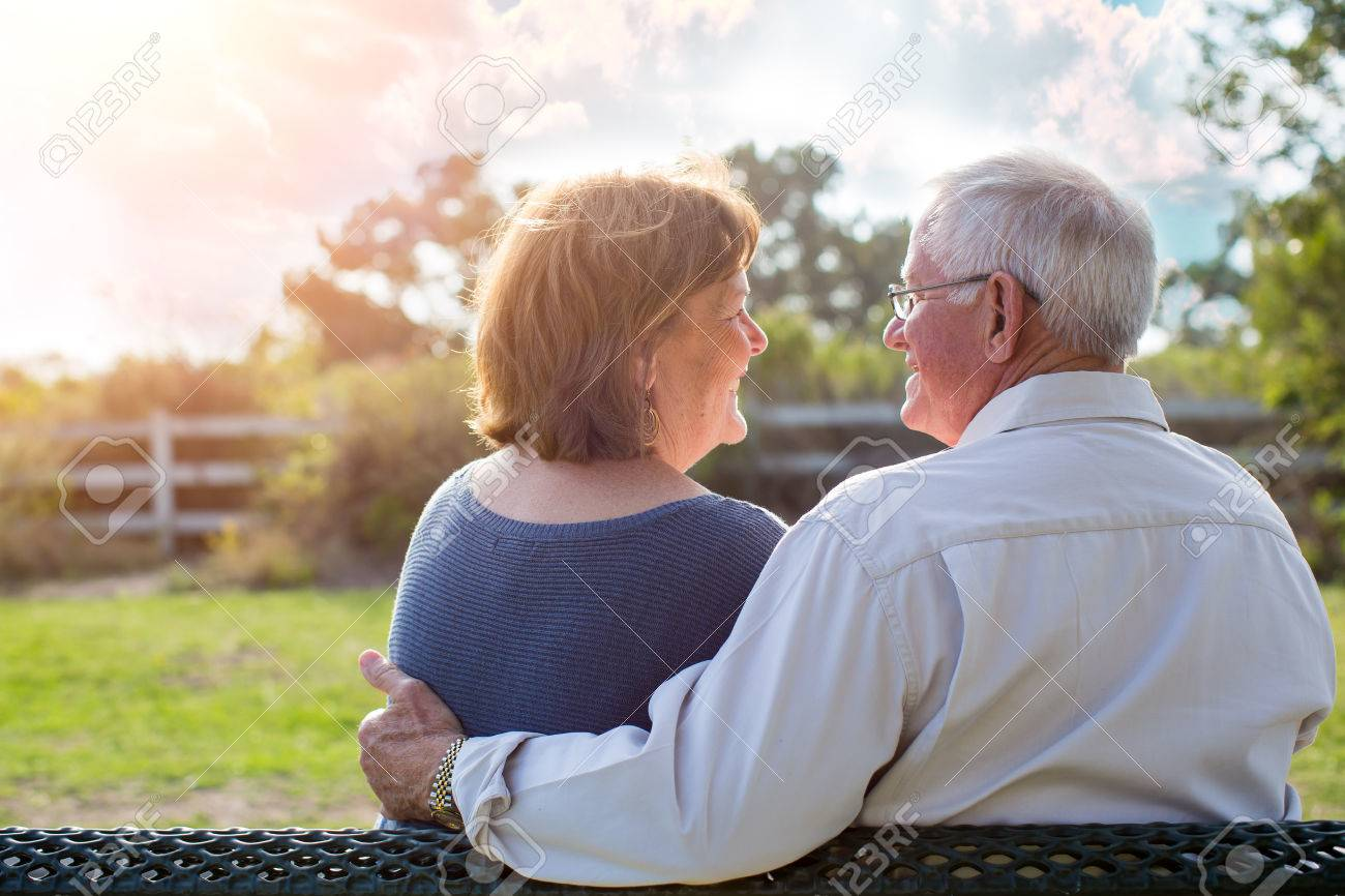 Happy senior mature couple in love outside in nature - 48198934