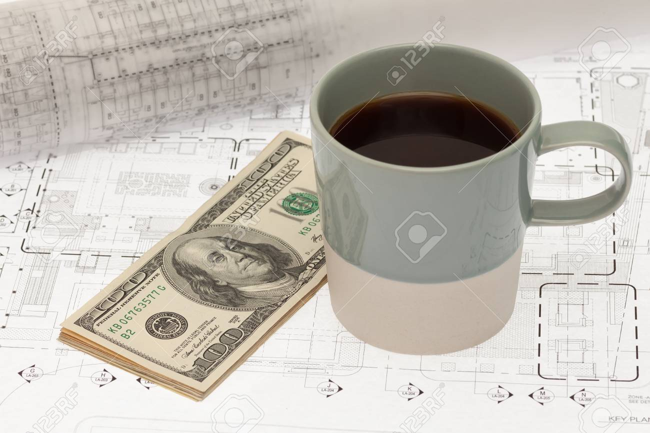 Coffee cup and money on architectural blueprint stock photo picture coffee cup and money on architectural blueprint stock photo 24437007 malvernweather Images
