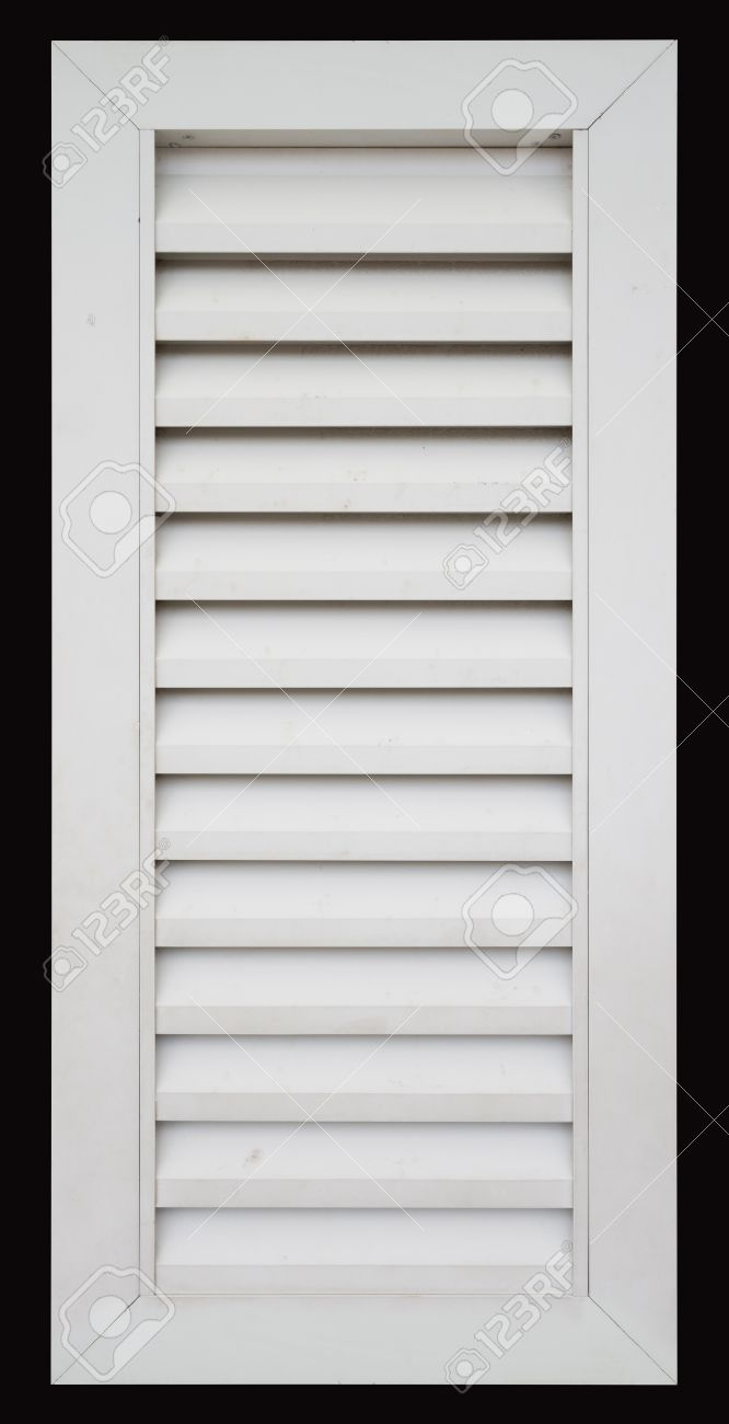 White window frame - Stock Photo White Louvered Window Frame Isolated On Black