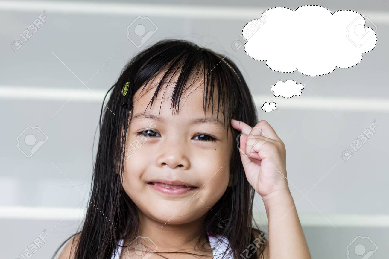 Student asian children is thinking for something, Education concept - 64512679