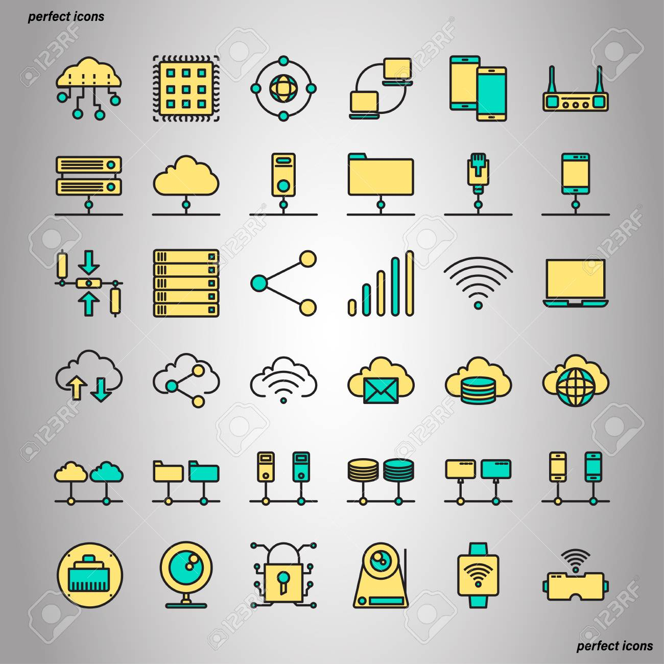 Computer Networks and Database Color Line Icons perfect pixel