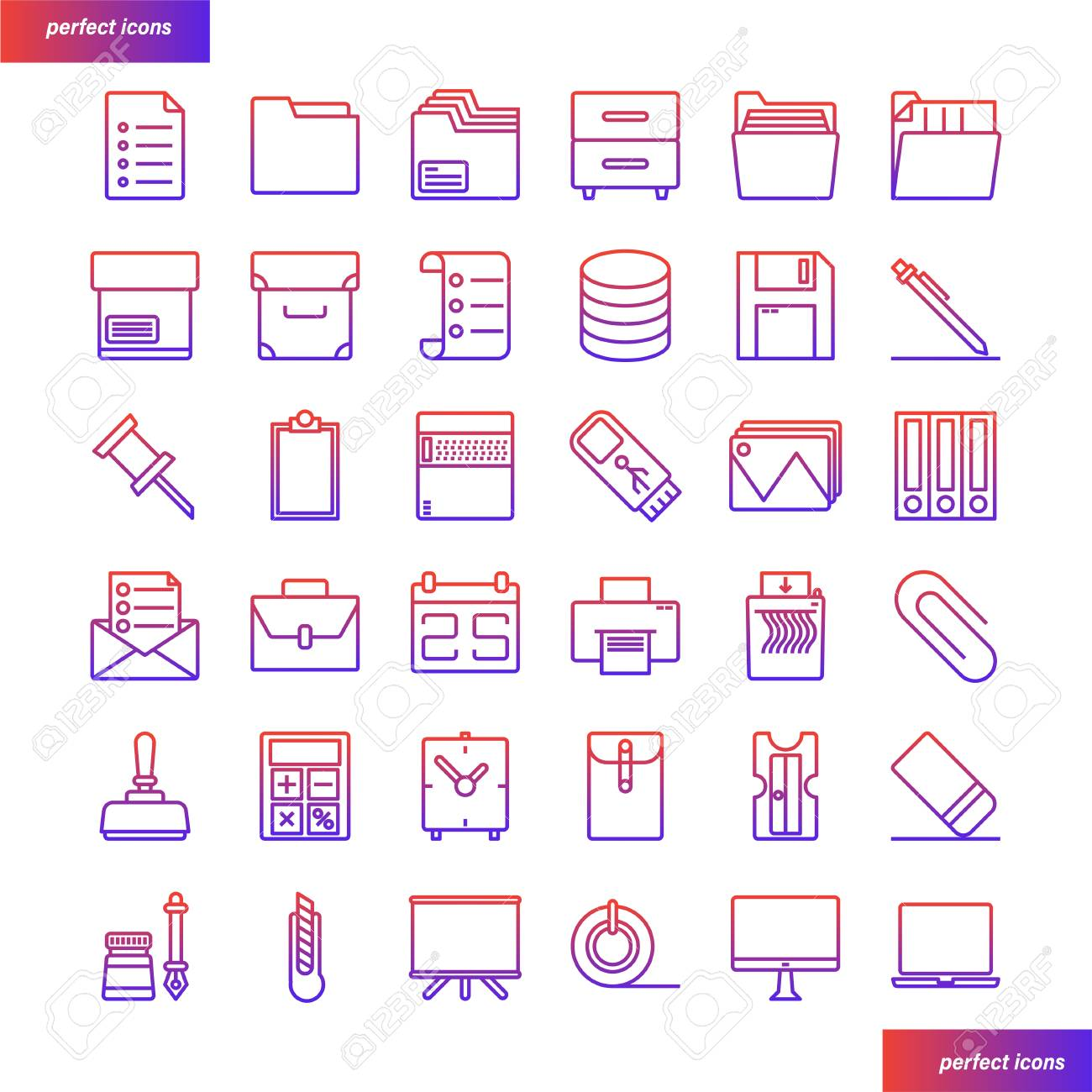 office supply color line icons perfect pixel use for website