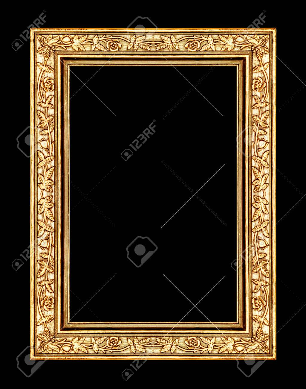 stock photo vintage rose gold frame isolated on black background with clipping path