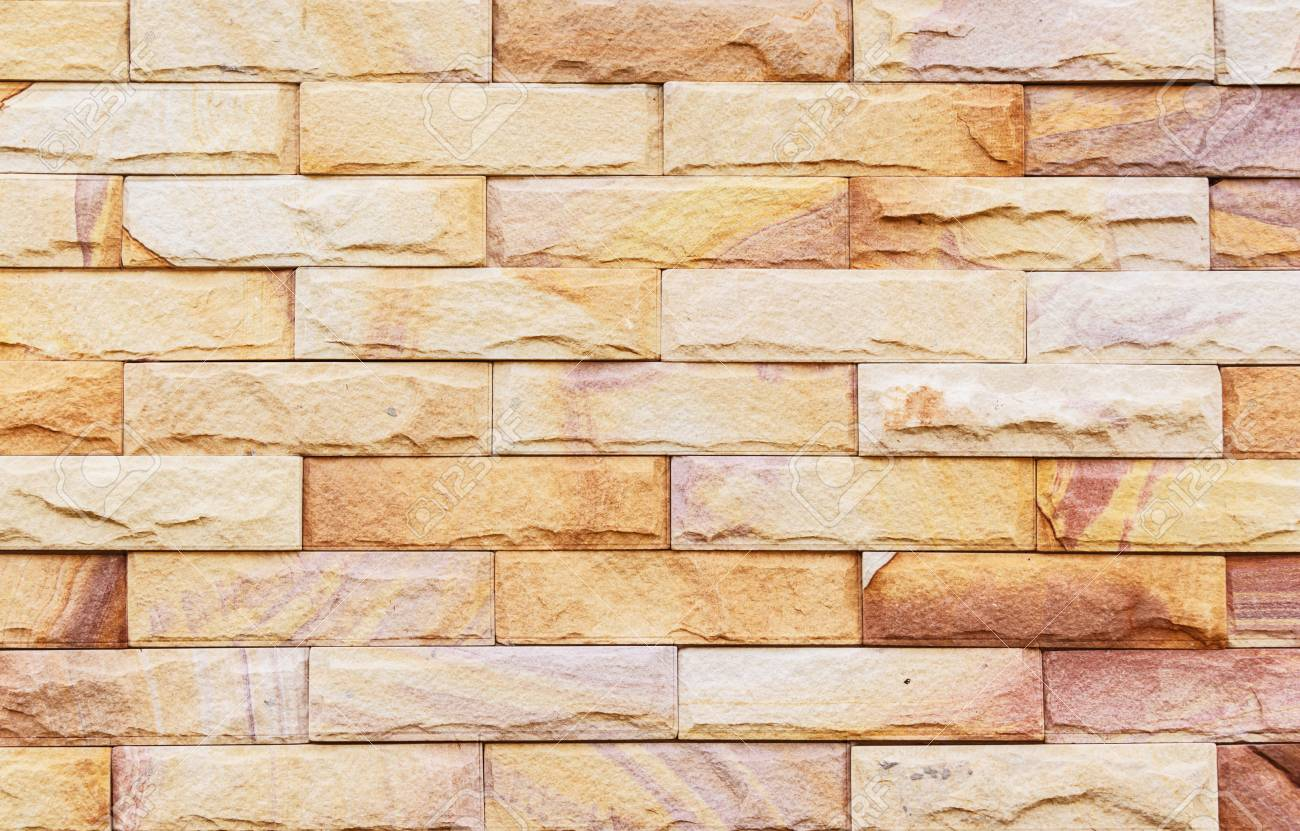 Sand Stone Wall Background Of Decorate Stock Photo, Picture And ...