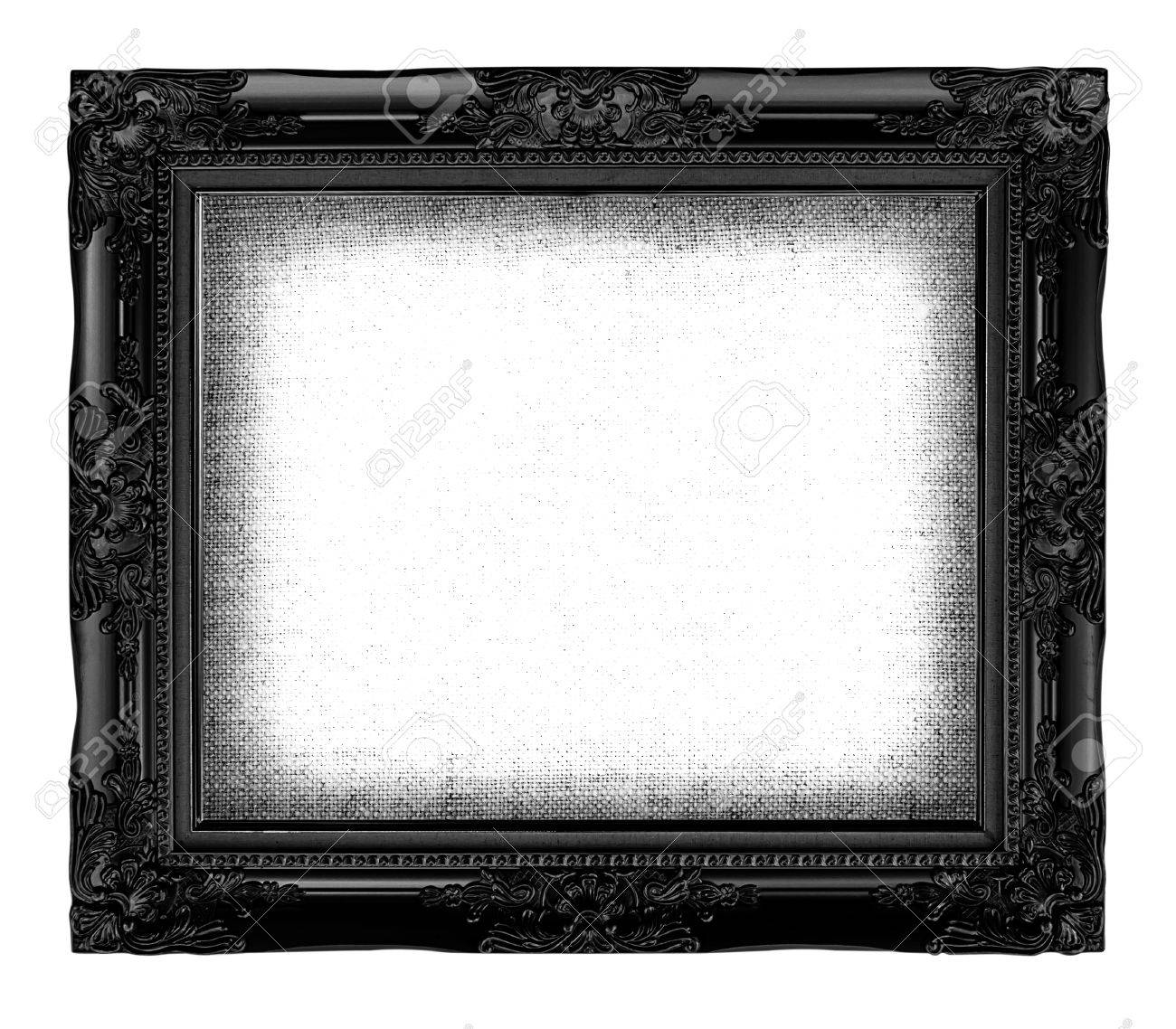 Old Black Frame With Empty Grunge Linen Canvas For Your Picture ...